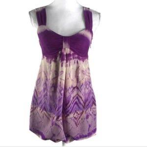 INC Sz S Babydoll Blouse Stretch Purple Sleeveless